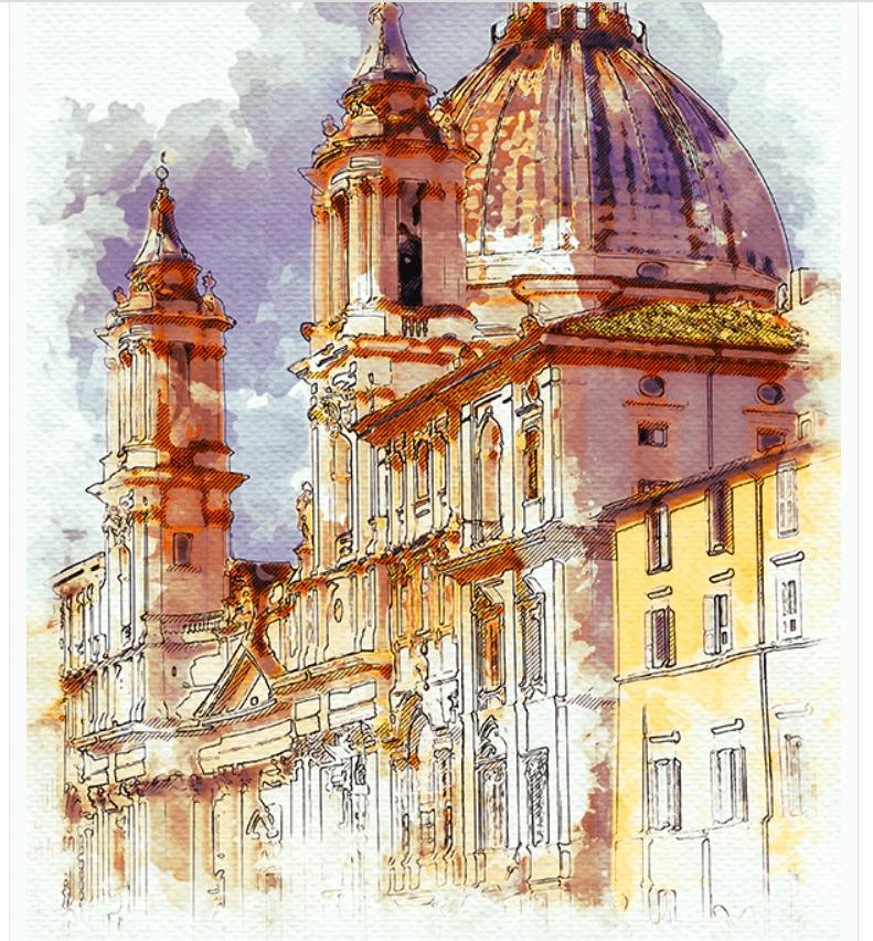 Realistic Watercolor Urban Sketcher Photoshop Action