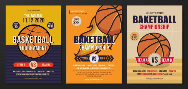 Set of basketball tournament flyer template Premium Vector