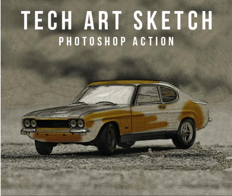 Tech Art Sketch Photoshop Action