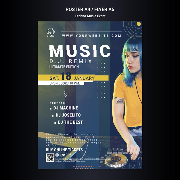 Vertical poster for techno music night party Free Psd