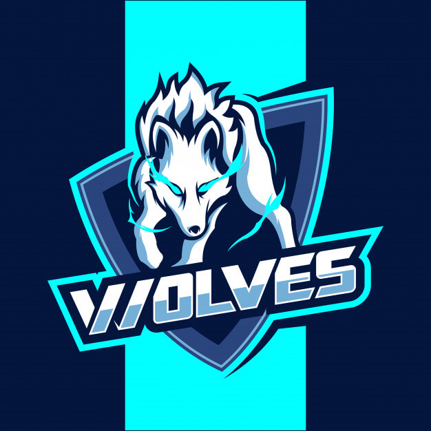 White wolves mascot esport logo design Premium Vector