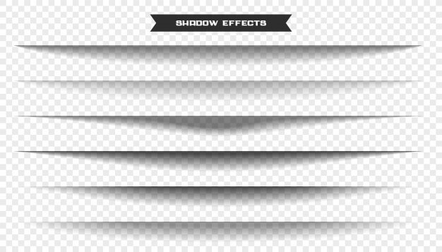 Wide paper sheet shadow effect set of six Free Vector