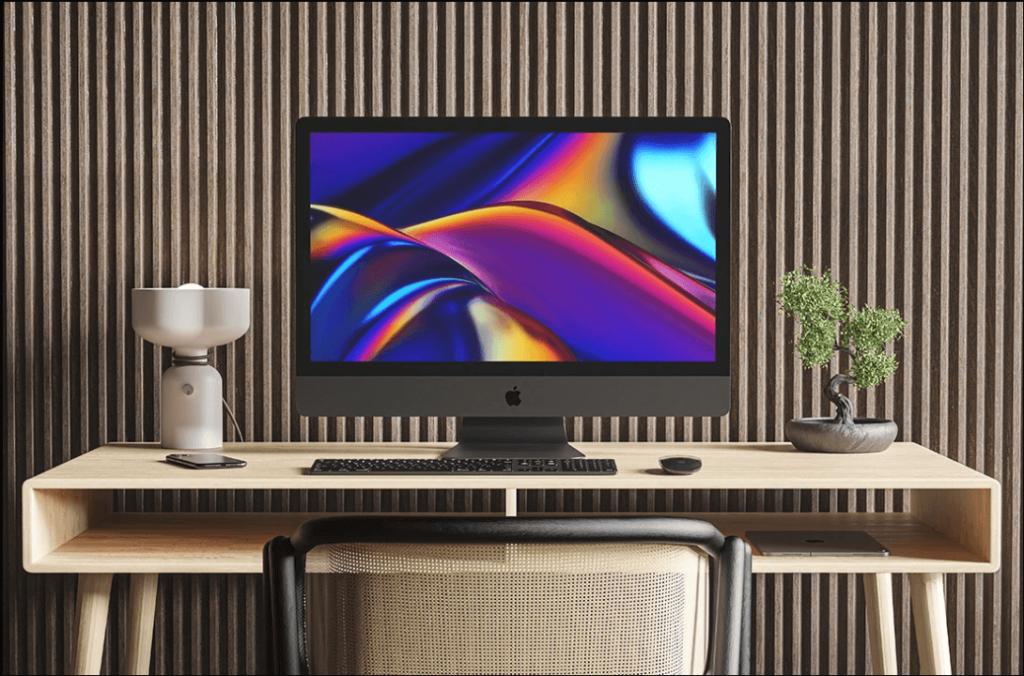 Free Flat iMac Pro Mockup PSD Template