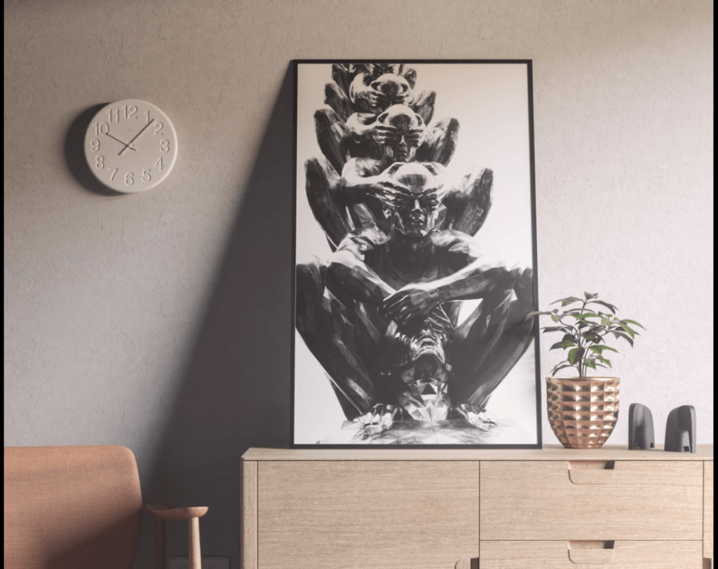Free Modern Standing Poster Mockup PSD Template