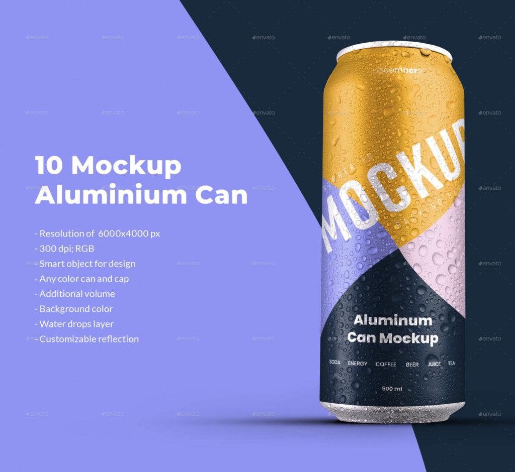 10 Mockup Aluminium Can 500 ml With Water Drops (1)