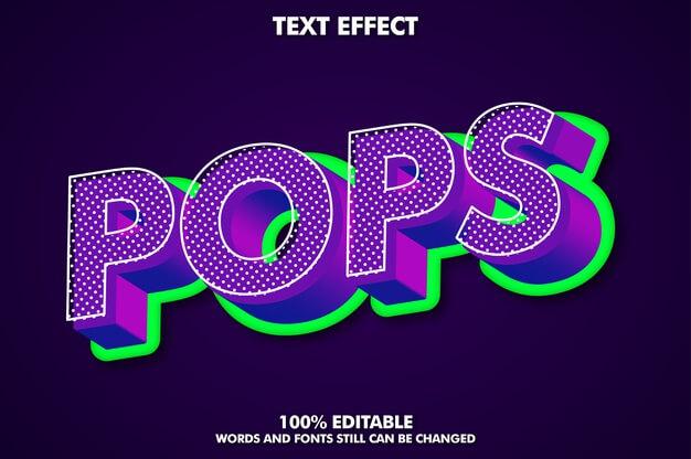 3d pop art text effect with rich texture Free Vector (1)