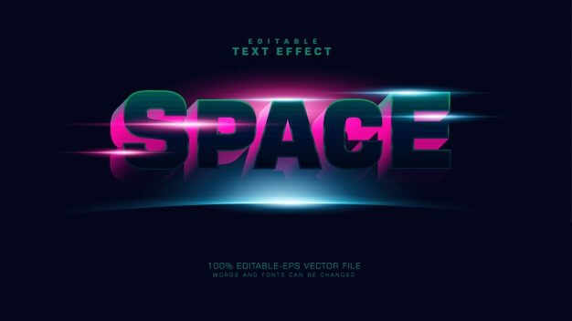 3d space text effect Free Vector (1)