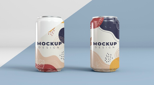 Abstract can packaging concept mock-up Free Psd (1)