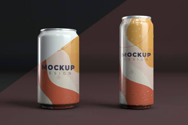 Abstract can packaging concept mock-up Free Psd (2)