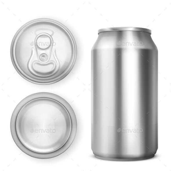 Aluminium Can for Soda or Beer in Different Views (1)
