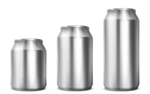 Aluminium cans different sizes for soda or beer (1)
