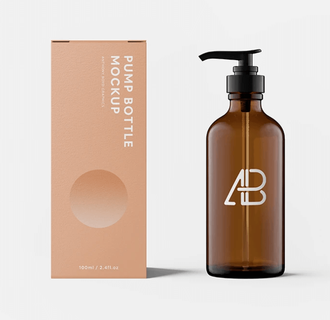 Free Pump Bottle With Box Mockup PSD Template: