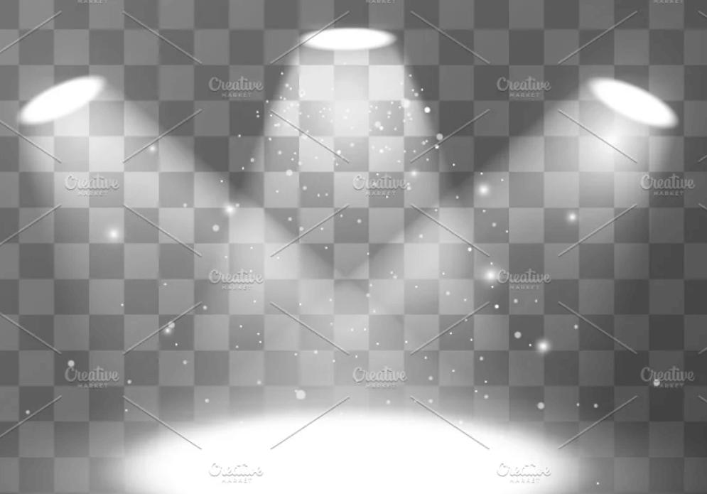 Bright empty scene with spotlights