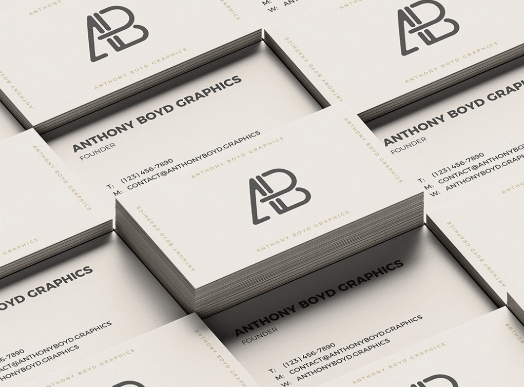 Free Creative Business Card Grid Mockup PSD Templat