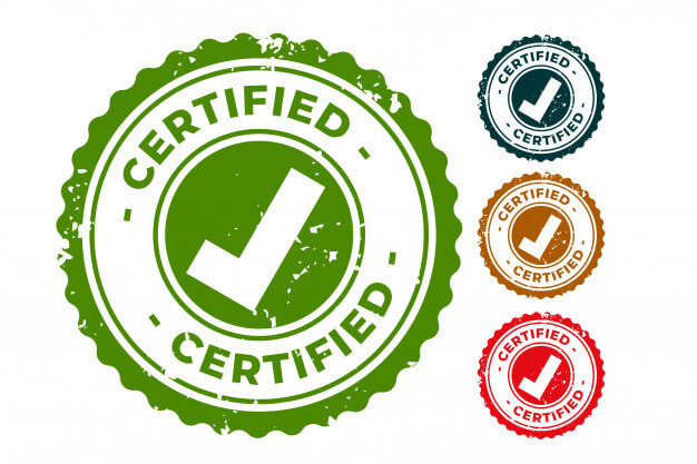 Certified and approved rubber stamps seal set Free Vector