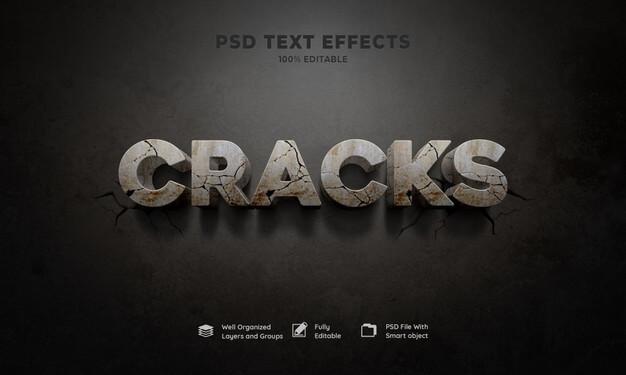 Cracks 3d text effect Free Psd (1)