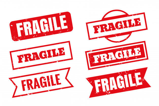 Fragile rubber stamps in different styles set Free Vector