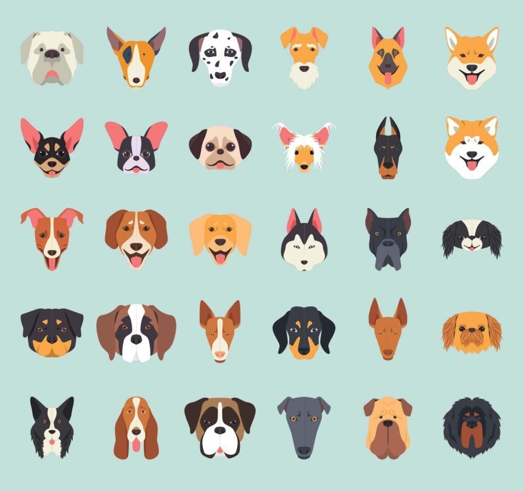 Free 30+ Dog Breeds Vector Illustration Icons (1)