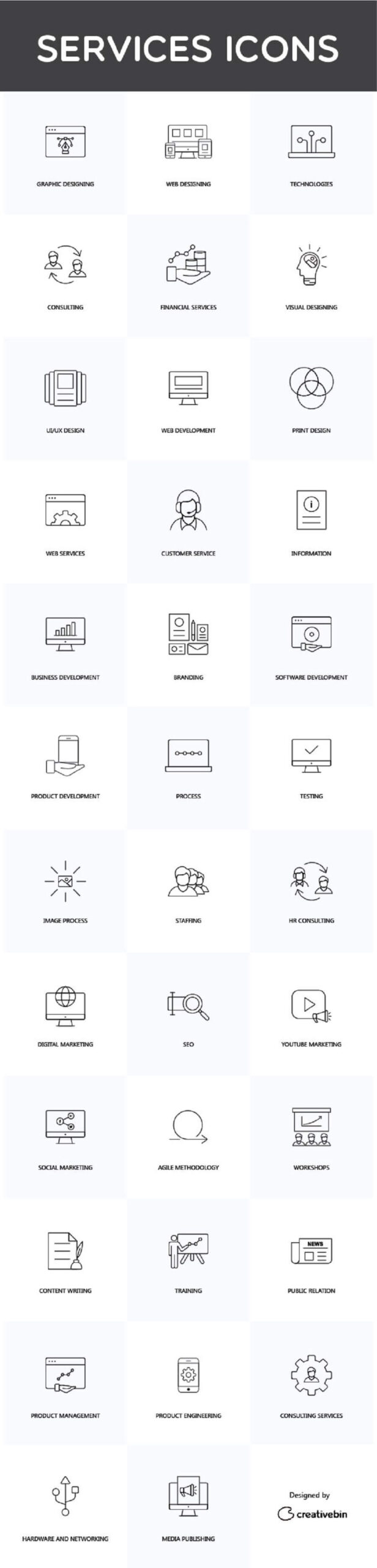 Free Attractive 35 Linear Services Vector Icons (1)