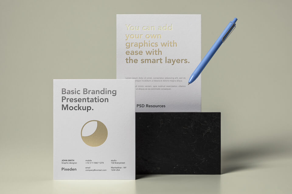 Free Basic Stationery Branding Mockup PSD Template (1)