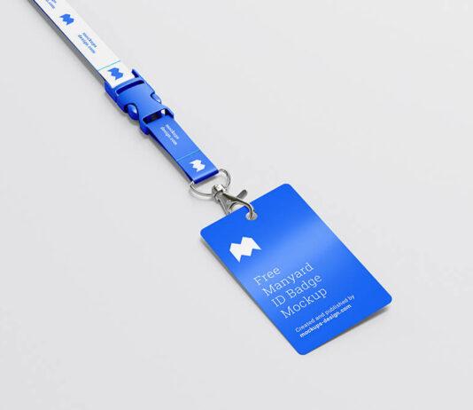 Free Blue Lanyard ID Badge Mockup PSD Template