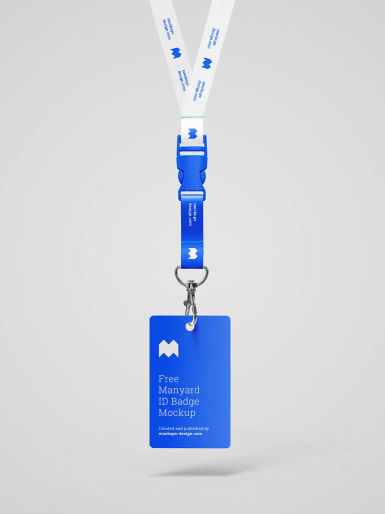 Free Blue Lanyard ID Badge Mockup PSD Template2