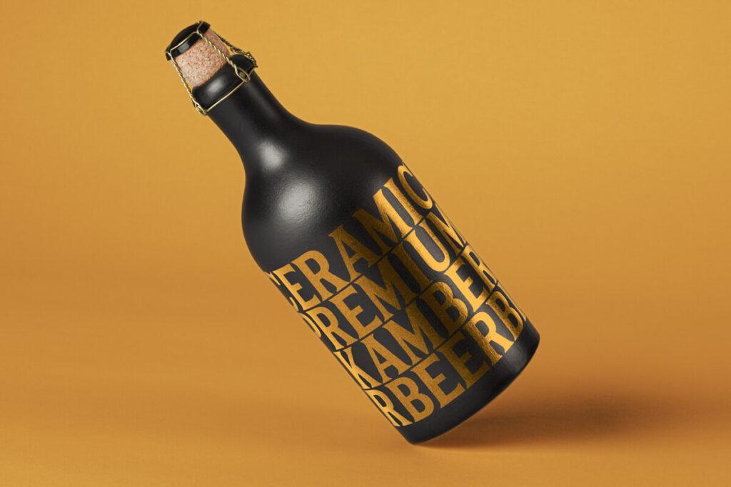 Free Ceramic Dark Bottle Mockup PSD Template (1)