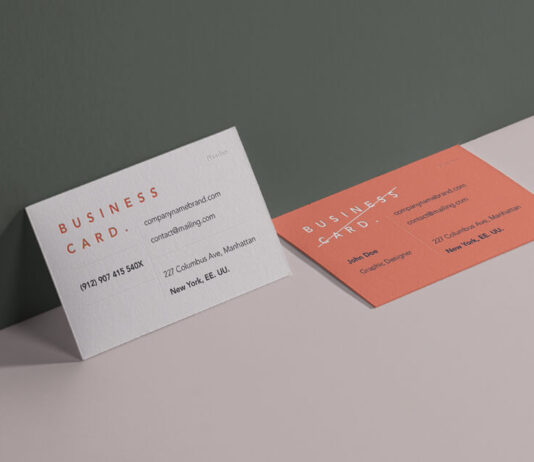 Free Colored Business Card Branding Mockup PSD Template (1)