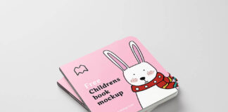 Free Colorful Children's Book Mockup PSD Template (1)