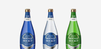 Free Designable Glass Bottle Mockups Set PSD Template (1)