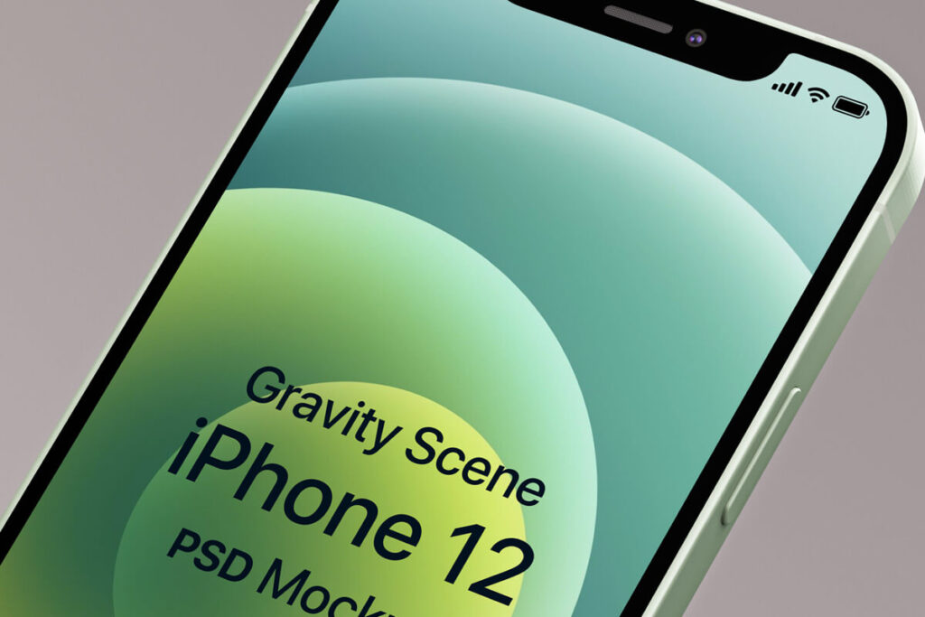 Free Elegant And Simple Gravity iphone 12 Mockup PSD Template1 (1)