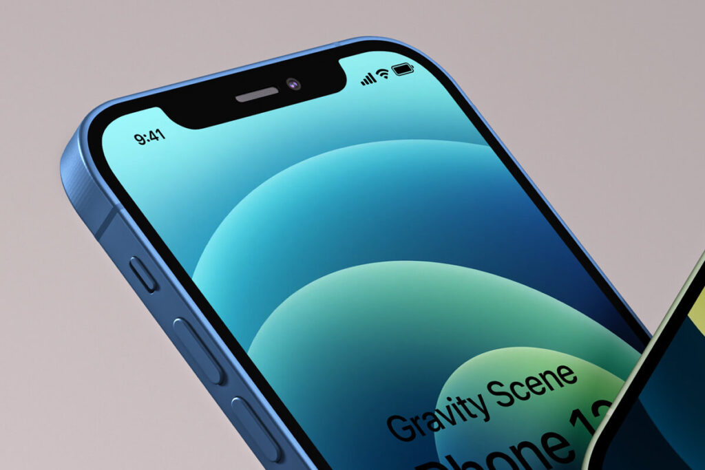 Free Elegant And Simple Gravity iphone 12 Mockup PSD Template2 (1)