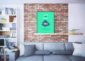 Free Elegant Poster On Shelf Mockup PSD Template