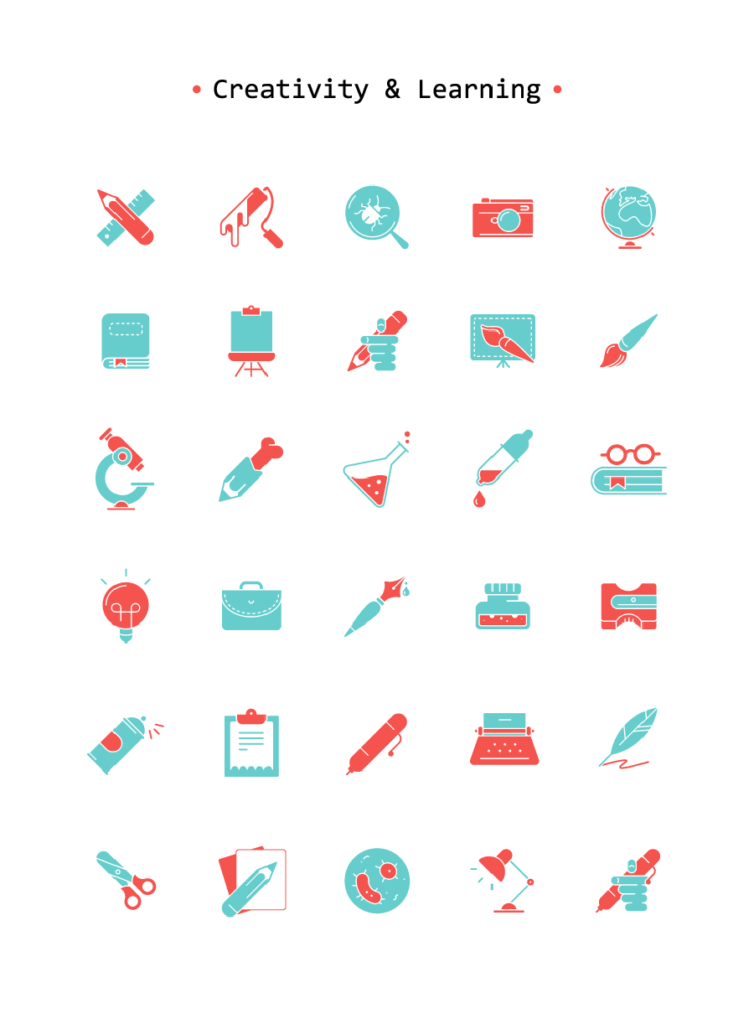 Free Experimental Art & Learning Vector Icon Set