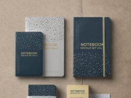 Free High Quality Notebook Mockup Set PSD Template (1)