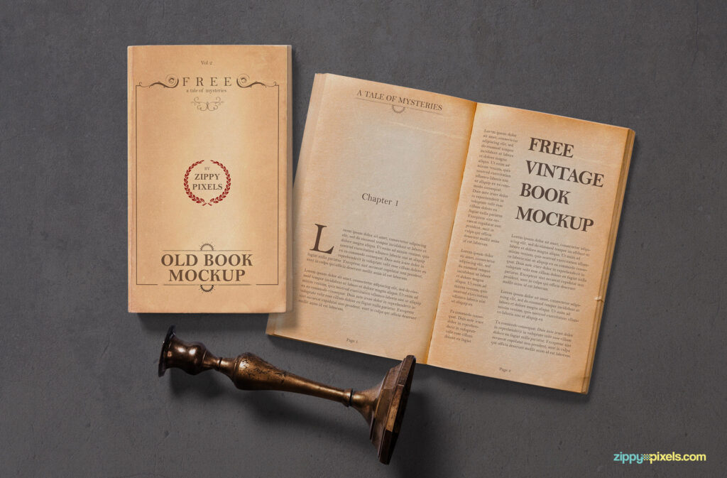 Free Old Vintage Book Mockup PSD Template (1)