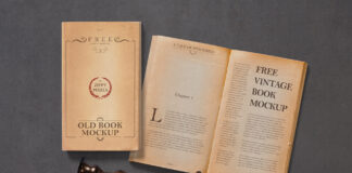 Free Old Vintage Book Mockup PSD Template (1)