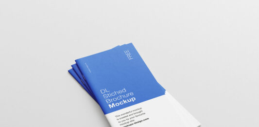 Free Saddle Stitched DL Brochure Mockup PSD Template (1)