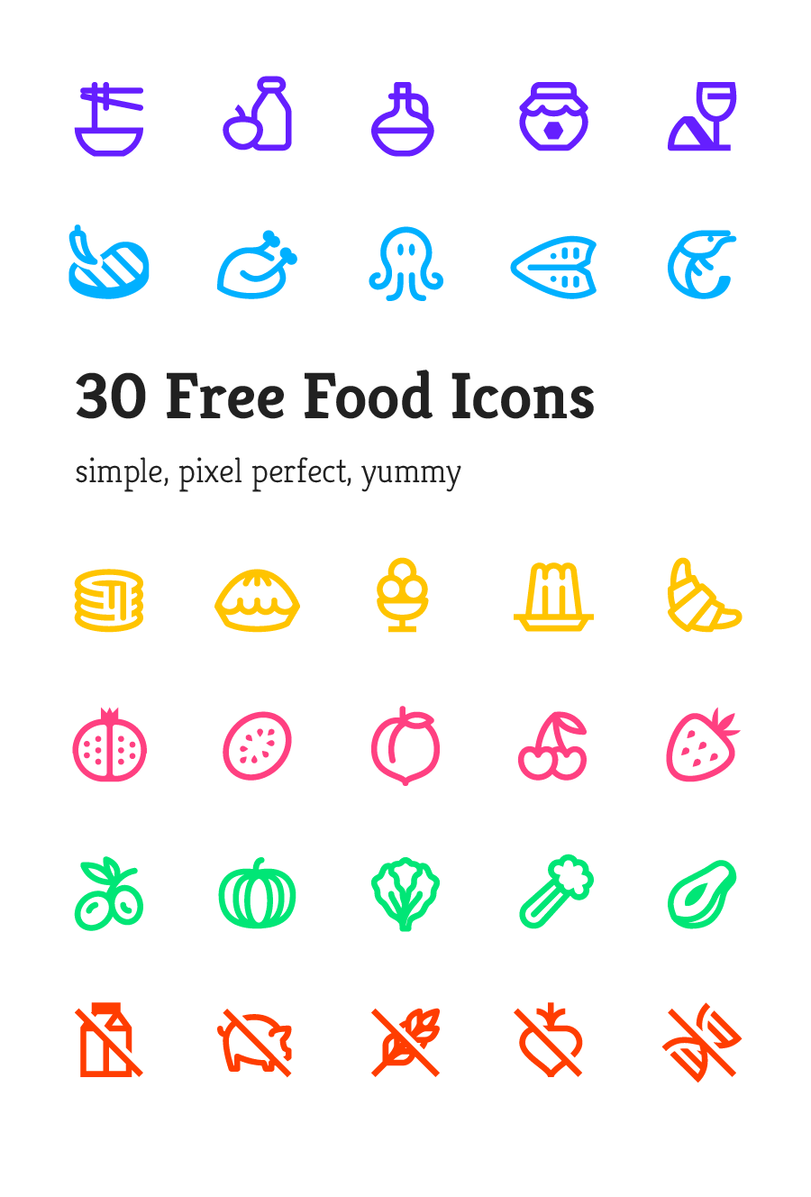 Free Simple And Yummy Food Vector Icon Pack (1)