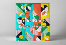 Free Spine Boxes Packaging Mockup Set PSD Template (1)
