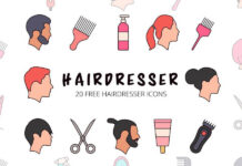 Free Thematic Hairdresser Vector Icon Set (1)