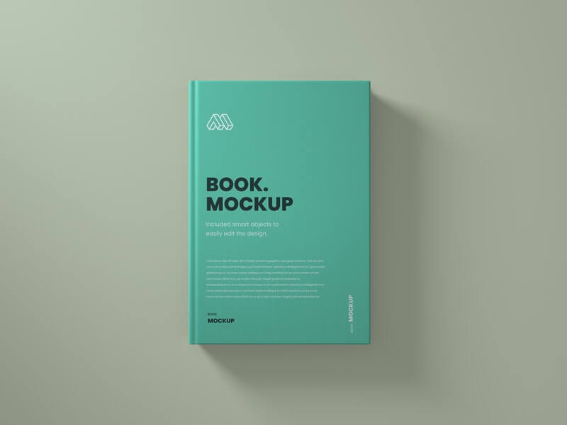 Free Top View Sea Green Book Mockup PSD Template (1)