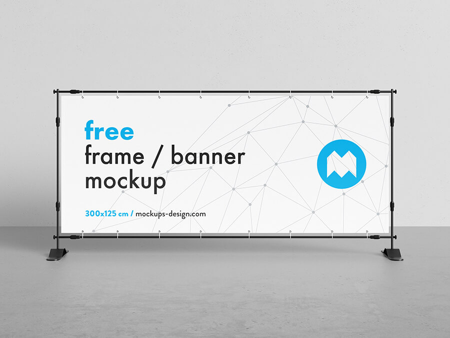 Free Vertical Banner Frame Stand Mockup PSD Template (1)