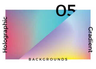 Free Vibrant 5 Holographic Gradient Background Mockup PSD Template