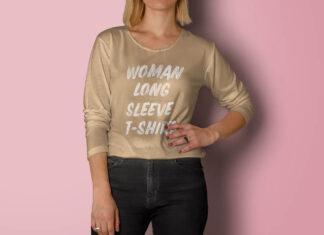 Free Woman Long Sleeve T-Shirt Mockup PSD Template (1)