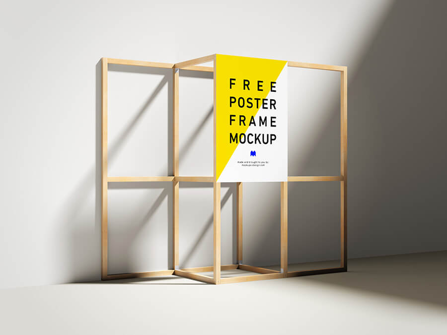 Free Wooden Yellow Poster Frame Mockup PSD Template (1)