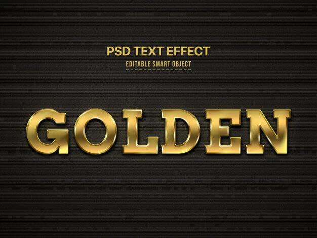 Golden 3d text style effect Free Psd (1)