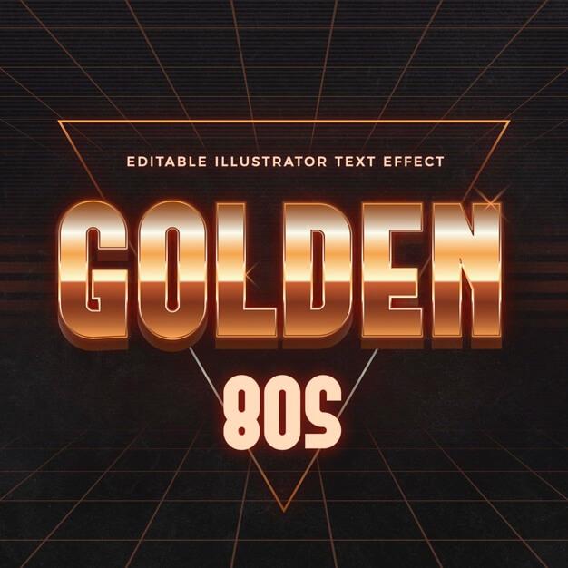Golden 80s text effect Free Vector (1)