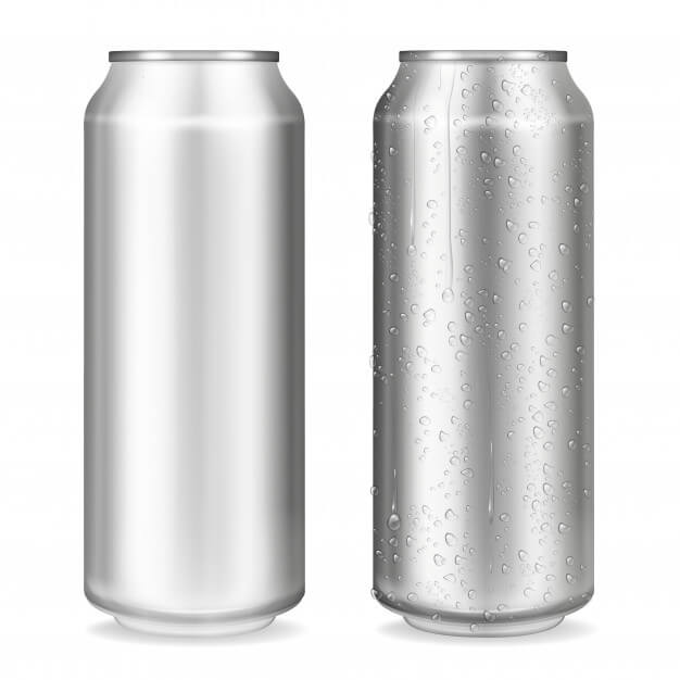 Metal can illustration of 3d realistic container for soda or energy drink, (1)