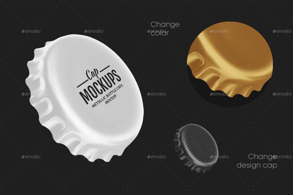 Metallic Bottle Caps Mockup Set (1)